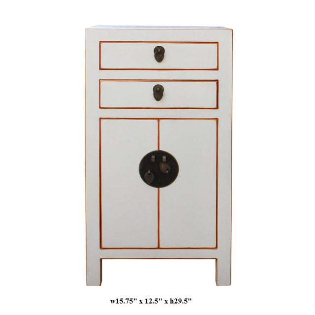 Chinese Off White Lacquer Side End Table Nightstand For Sale In San Francisco - Image 6 of 6
