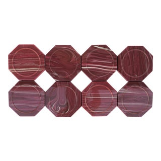 Vintage Onyx Marble Style Octagonal Acrylic Coasters - Set of 8 For Sale