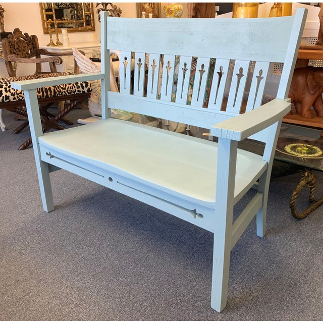 1940s 1940s Vintage Farmhouse Chic Solid Oak Bench For Sale - Image 5 of 13
