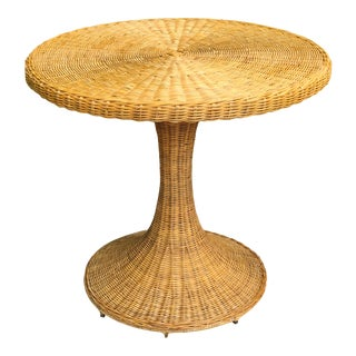 Vintage Wicker Rattan Dining Table For Sale