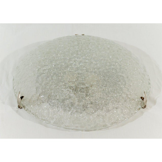 1960s Textured Flush Mount with Chrome Hardware by Hustadt Leuchten For Sale - Image 5 of 9