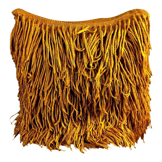 Vintage Mid-Century Modern Shaggy Floor Pillow For Sale