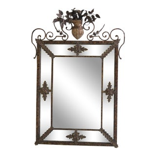 Fine Arts Decorated Metal Designer Mirror For Sale
