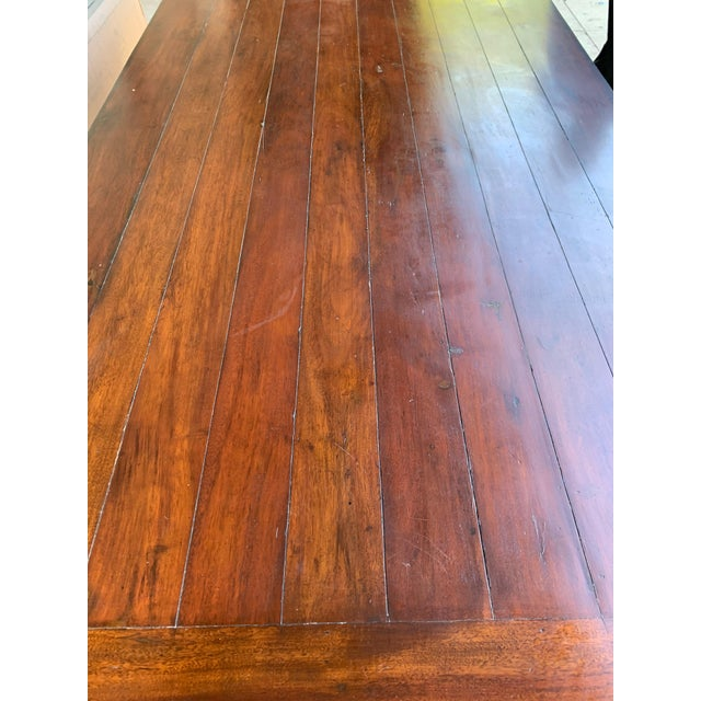 1980s Traditional Solid Wood Mahogany Dining Table For Sale - Image 11 of 12