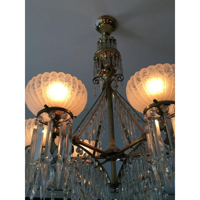 Art Nouveau Antique Brass & Crystal Chandelier For Sale - Image 3 of 10