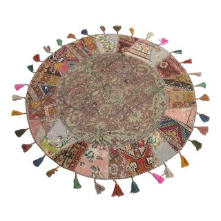 "Turkish Handmade Patchwork Area Rug - Round - 5'2"" x 5'2"" For Sale"