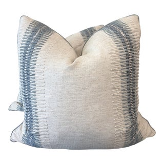 """Embroidered Stripe on Linen 22"""" Pillows-A Pair For Sale"""