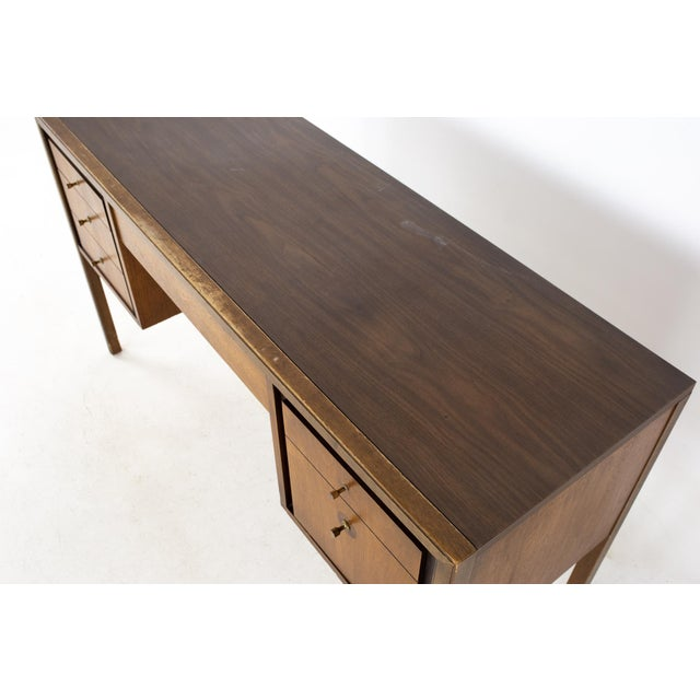Lawrence Peabody Style Mid Century Walnut and Laminate Desk For Sale - Image 11 of 13