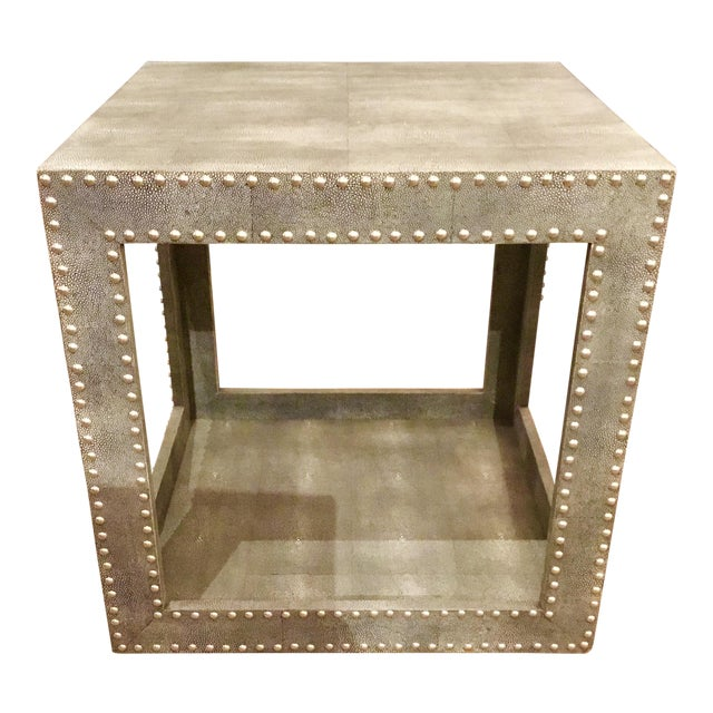Stylish modern two tiered Regina Andrews feaux blue gray python studded accent cube table with silver nailhead detail,...