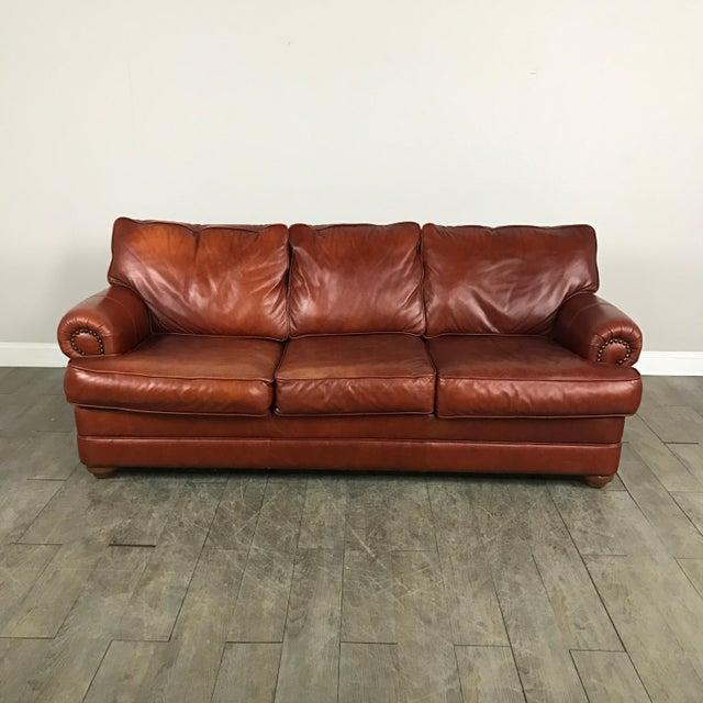 Walter E. Smithe Red Leather Sofa   Chairish