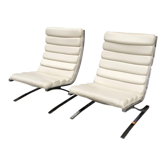 1970s Vintage Design Institute of America Chrome Cantilever Lounge Chairs- A Pair For Sale