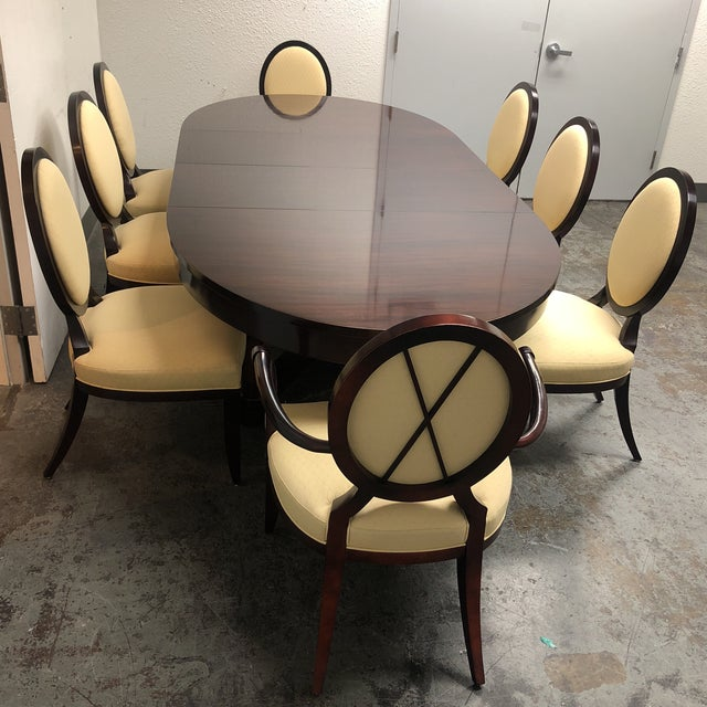 Contemporary Barbara Barry Oval Dining Table & 8 Chairs for Baker - Set of 9 For Sale - Image 3 of 8