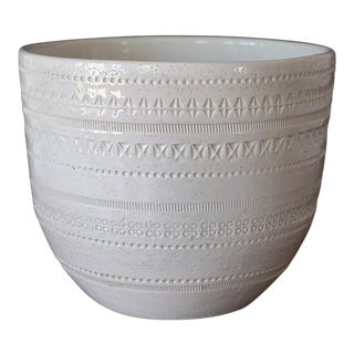Mid Century Bitossi Aldo Londi White Rimini Ceramic Planter For Sale