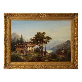 Circa 19th Century Antique German Landscape Painting by Hermann Seefisch For Sale