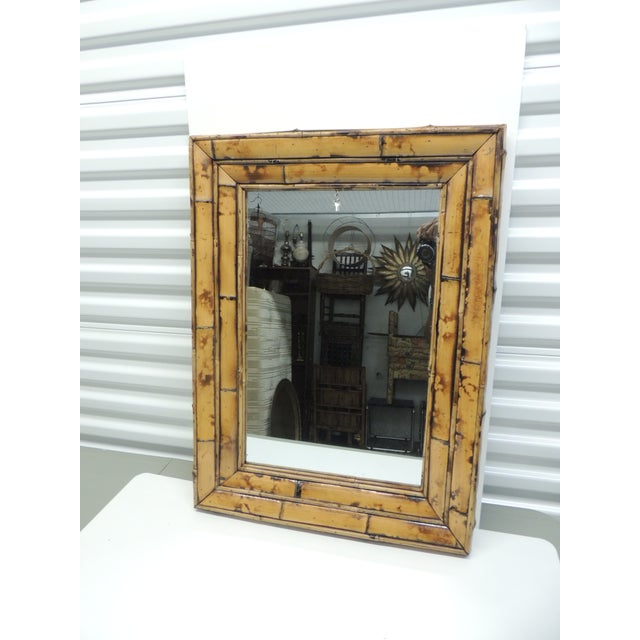 Vintage Rectangular Wood and Bamboo Mirror - Image 5 of 5