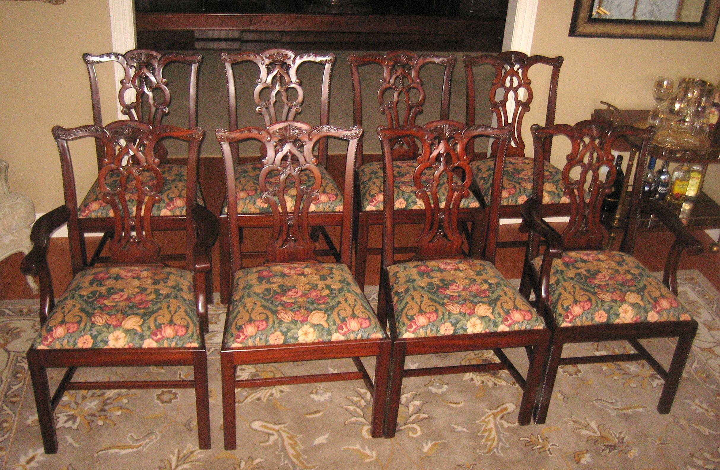 Set Of Eight (8) Maitland Smith Mahogany Chippendale Straight Leg Dining  Room Chairs