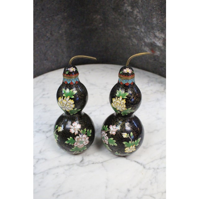 Black Asian Style Cloisonne Bottles - a Pair For Sale - Image 8 of 8