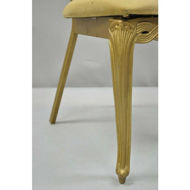 Vintage Kessler French Hollywood Regency Style Cast Metal Tall Back Side Chair For Sale - Image 10 of 12