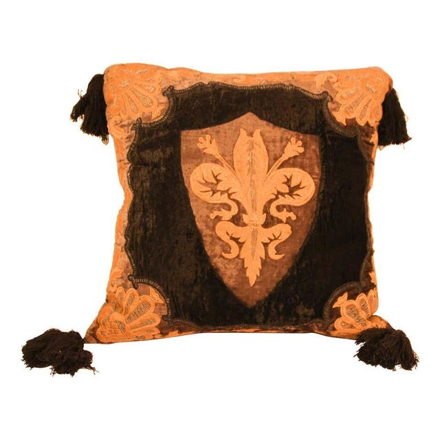 Baroque Silk Velvet Applique Throw Decorative Pillow with Tassels For Sale - Image 11 of 11