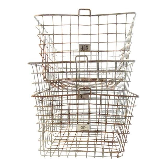 Vintage Wire Locker Baskets - Set of 3 For Sale