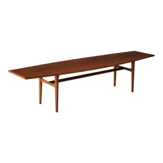 Mid Century Walnut Surfboard Coffee Table by Carlin For Sale