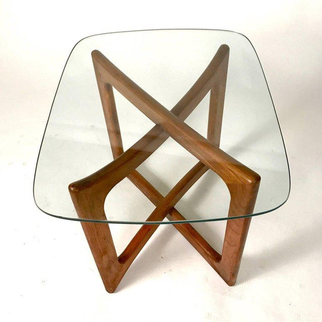 Mid-Century Modern Sculptural Adrian Pearsall for Craft Associates Walnut and Glass Table For Sale - Image 3 of 6