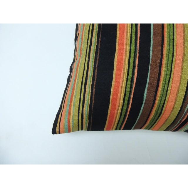 Barkcloth Delray multi-color stripes decorative pillow Orange cotton and linen modern tweet, square throw customizable...