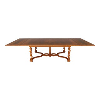 Baker Jacobean Style Barley Twist Leg Oak With Banded Walnut Dining Table 129l For Sale
