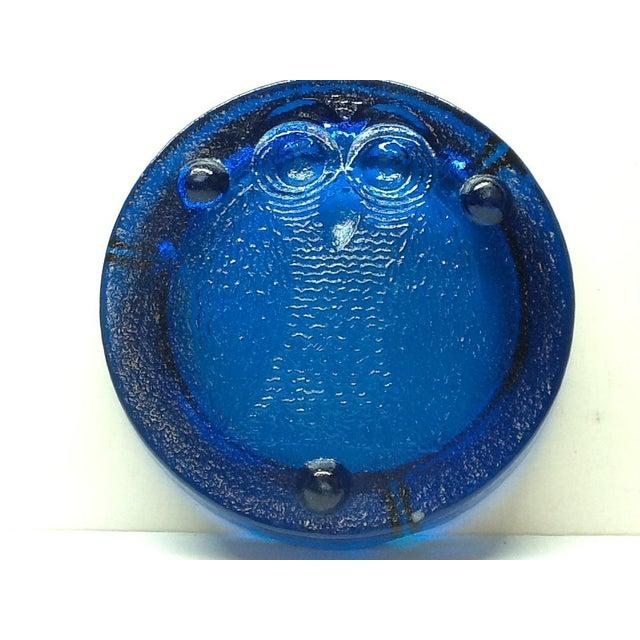 Vintage Cobalt Blue Blenko Art Glass Owl Ashtray For Sale - Image 6 of 7