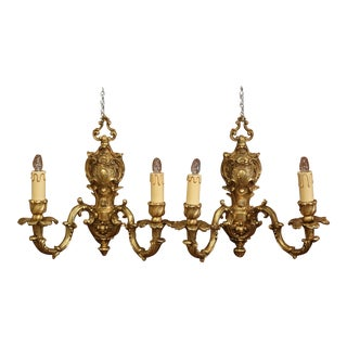 Pair of Mid-20th Century Italian Louis XV Gilt Brass Two-Light Wall Sconces For Sale