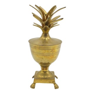 Vintage 80s Pineapple Box / Candlestick Holder With Lion Feet Base. For Sale