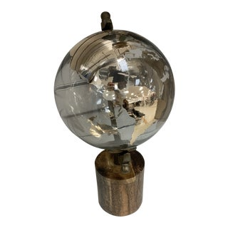 Glass World Globe on Wood Base For Sale