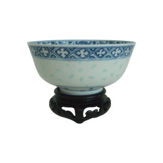 Transulcent Blue & White Chinese Rice Pattern Bowl With Wood Stand For Sale