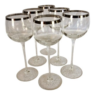 Tall Vintage Crystal Platinum Rim Wine Glasses - Set of 6 For Sale