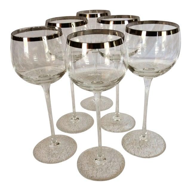 Tall Vintage Crystal Platinum Rim Wine Glasses - Set of 6 For Sale