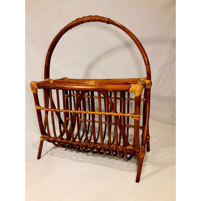 Wicker Vintage Mid Century Modern Franco Albini Style Rattan & Bamboo Magazine Rack For Sale - Image 7 of 8