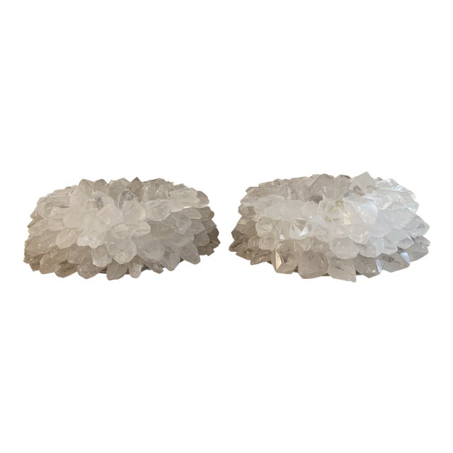 Large White Rock Crystal Votive Candle Holders- a Pair For Sale