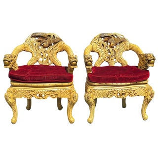 Pair of Asian Style Carved Arm Chairs For Sale