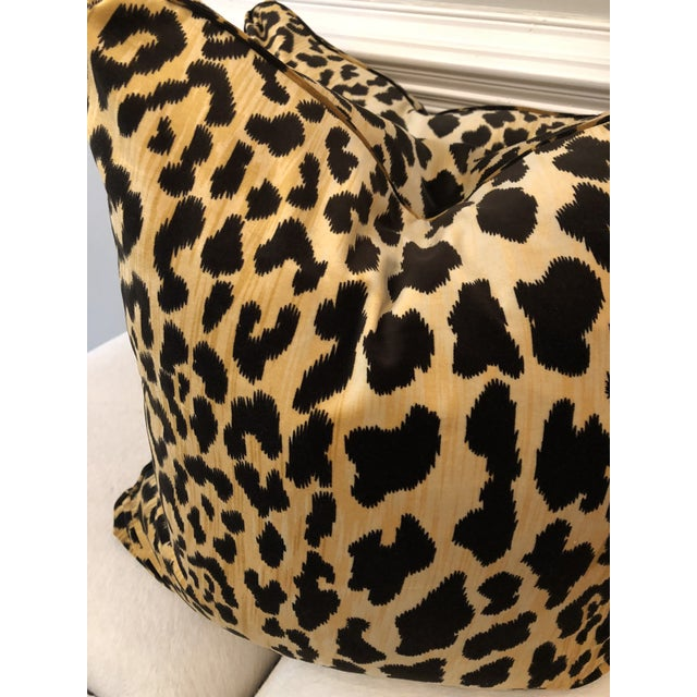 "Custom pair of 22"" pillows covered in a leopard print velvet fabric. Pillows have Turkish corners, are self welted, have..."