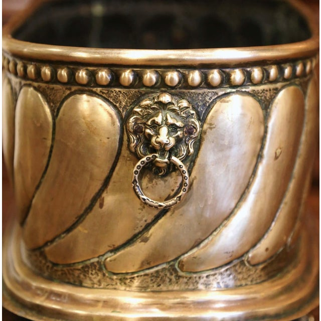 Metal 19th Century French Brass Cache-Pot With Lion Head Handles and Repousse Decor For Sale - Image 7 of 12