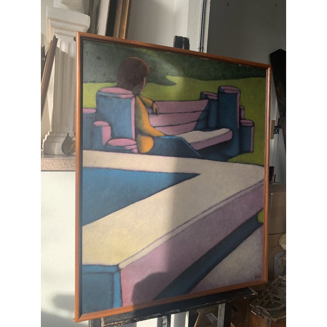 "1970s ""Figure Seated on a Park Bench"" Oil Painting, Framed For Sale - Image 4 of 8"