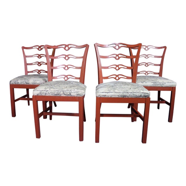 Red Painted Antique Dining Chairs - Set of 4 For Sale