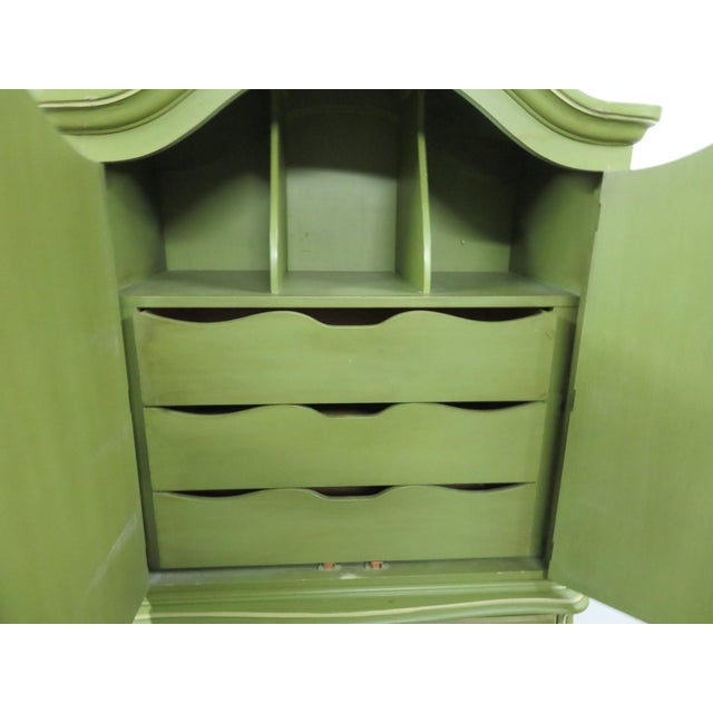 French Provincial Louis XV Style Green & Cream Armoire For Sale - Image 3 of 7
