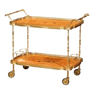 Mid-20th Century French Rosewood and Brass Tea Cart With Marquetry Motifs For Sale