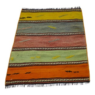 1950s Cabin Style Turkish Hand Knotted Striped Kilim Rug For Sale