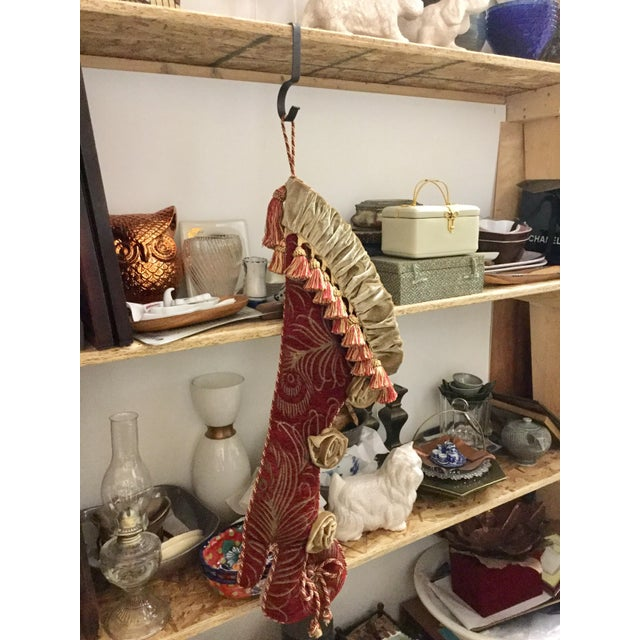 High Heel Upholstery Tasseled Hanging Stocking For Sale - Image 10 of 11