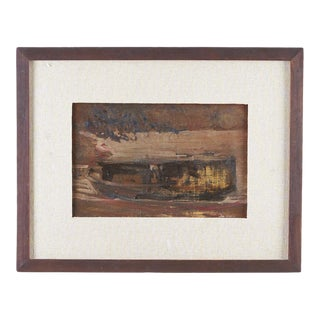 1950s Vintage Abstract Oil Painting on Canvas For Sale