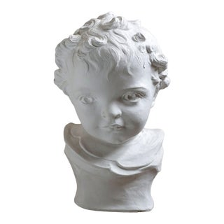 Statue Child Bust, White For Sale