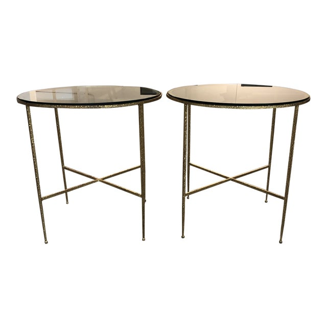 Pair of Custom Gold Finish Round Side Tables For Sale