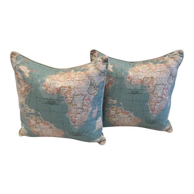 Accent Pillow - World Map Pattern For Sale